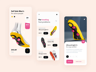 Insole app mobile interaction design ae walking motion interaction animation comfortable app comfort health statistic graph interaction android app button ios animation typography mobile design ux ui