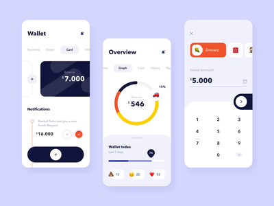 The wallet app mobile interaction business statistic emoji chart graphic spending save money account save amount car app flat button ios mobile typography ux design ui