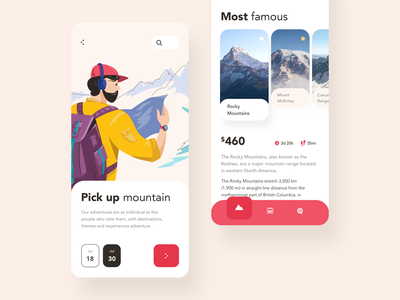 Mountain trip time iOS app design redesign application app icon pickup calendar date red trip mountain illustration android flat button ios typography mobile design ux ui
