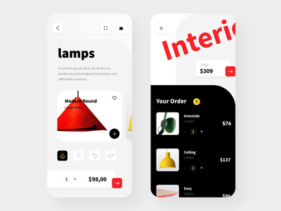 Animated e-commerce template ui design ui8 ui  ux black phone android ios motion interactive lamp sell buy template interaction typography animation mobile design ux ui