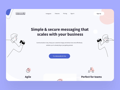 Indemandly home page design interaction home screen interactiondesign gif animations landing design landing page design landingpage blue interaction animation design modern motion typography flat animation illustration button design ux ui