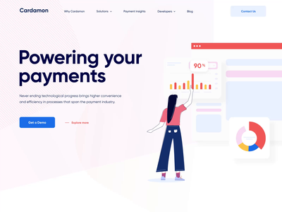 The Cardamon landing page interaction chart shape photo image user button blue icon design graph web illustration flat typography interaction animation motion gif ux ui