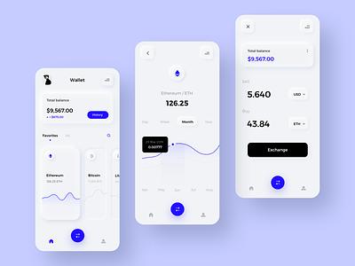 Crypto Exchange app money wallet bitcoin letcoin crypto wallet crypto change mobile app android app mobile ui vector flat android ios button typography mobile design ux ui