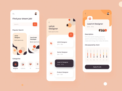 Search Job - Motion Design Interaction for a Mobile App iphonex search users identity cards ui chart graphic interactive interface aftereffects interaction animation app graph illustration motion ios mobile animation design ux