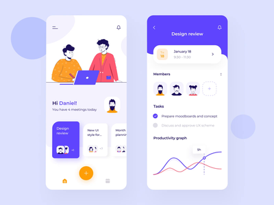 Meeting mobile app interaction design chart app interaction ae gif calendar card meeting profile illustration android mobile ui animations motion button mobile animation ux ui