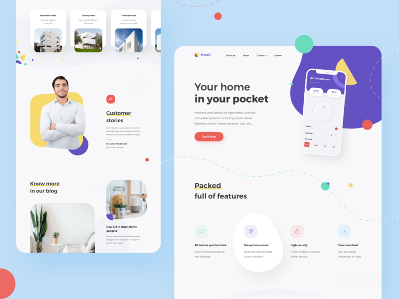 Homi - Home in your pocket landing web page design