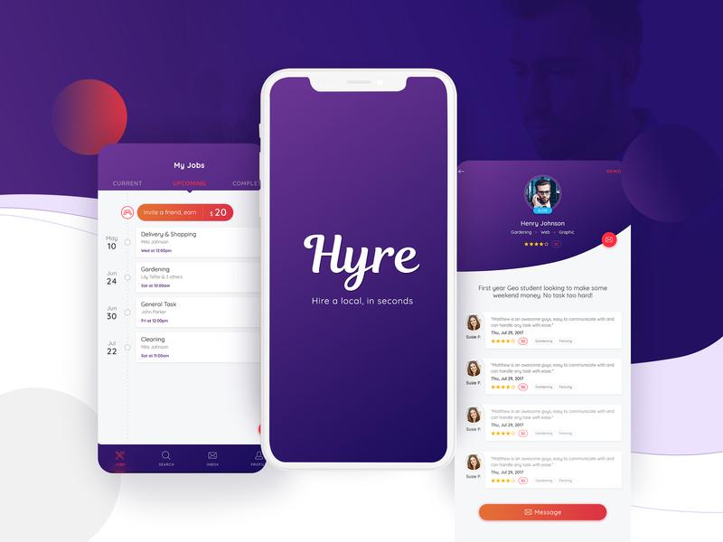 Hire Professional App job design ux ui app hire