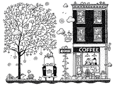 Saturday Morning Coffee childrens book art coffee shop pen and ink drawing illustration