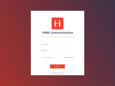 ViiBE Communication Login form