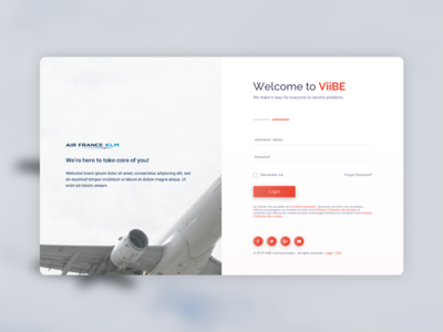 Login form AirFrance x ViiBE