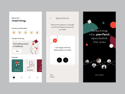 Therapy App wellbeing mental health psychologist psychology therapy design concept app ux ui