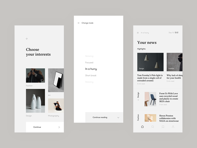 My News App - Daily Routine Concept learning machine ai article news minimal app ux interaction ui