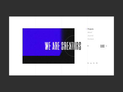 We Are Creators - Menu Page menu creative noise blue agency web layout concept minimal ux ui