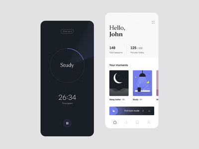 Stay Focused App - Monitor your time ui timer tracking habits study focused focus minimal application app