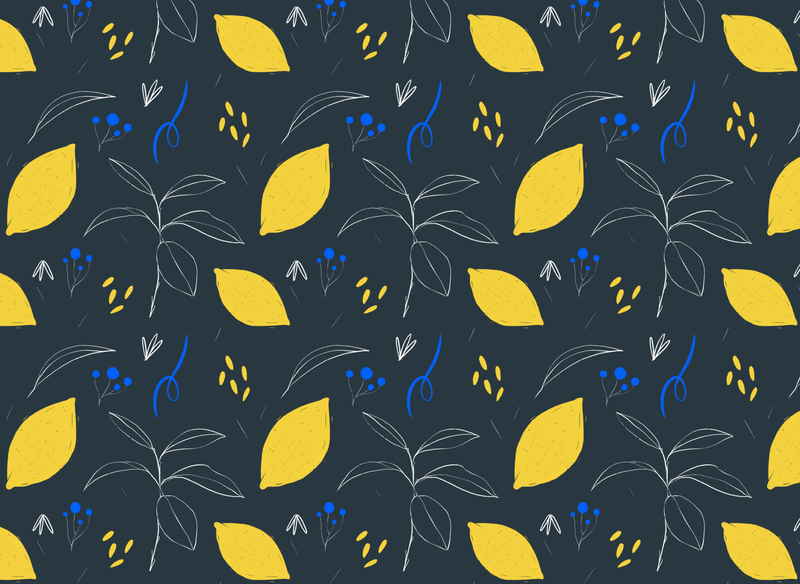 Floral seamless pattern - Lemons floral doodle procreate yellow dark seamless pattern illustration lemon