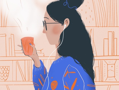 Coffee Time coffee cup stay home stayathome drawing flat design girl character brushes procreate hair sweater illustration girl