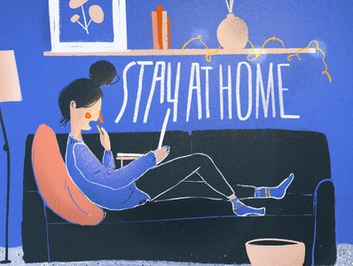 Stay at home! couch laptop design drawing home portrait pink blue texture carpet procreate lazy illustration girl stay at home stay safe