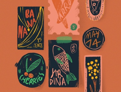 Food Stickers orange icons flower fridge banana carrot noise grainy rusty design stickers fish food illustration procreate