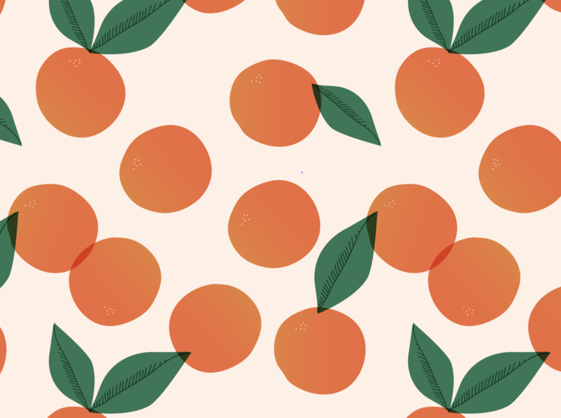 Floating Oranges Pattern natural eat surface icon flat gradient illustrator food leaf green seamless pattern