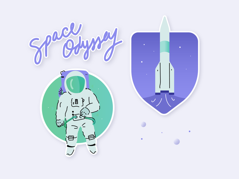 Space Stickers dragoncrew nasa launch green purple simple odyssey rocket spaced spaceship stars astronaut spaceman galaxy vector flat stickers illustration space