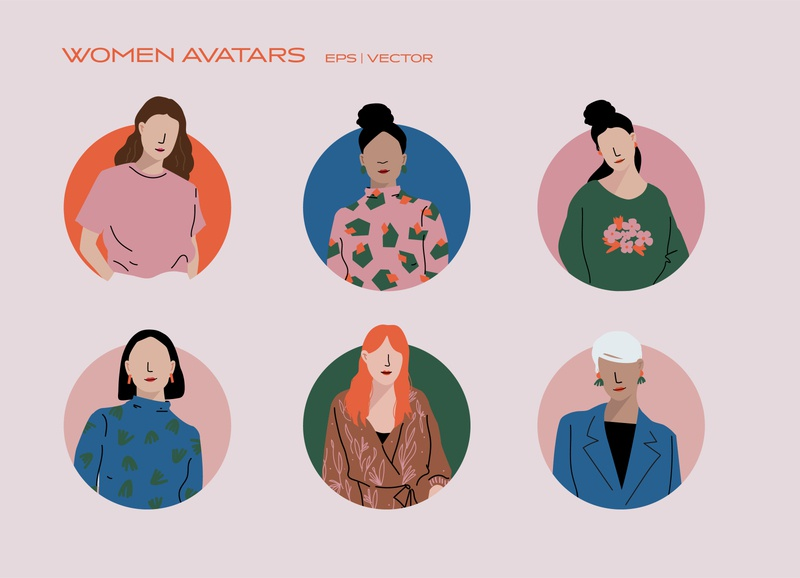 Women Avatars - Icon Set diversity portrait illustration casual business user icon womens day vector iconography dress pattern fashion ui icon design icon set icon avatar woman women in illustration