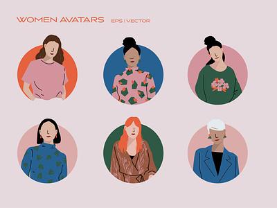 Women Avatars - Icon Set diversity portrait illustration casual business user icon womens day vector iconography dress pattern fashion ui icon design icon set icon avatar woman women in illustration
