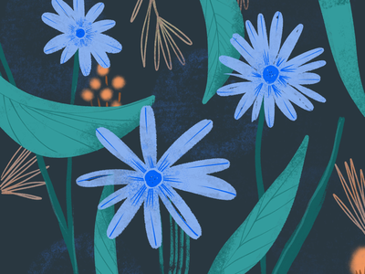Blue Spring Night texture youthful pattern creative procreate spring blue fflowers floral illustration