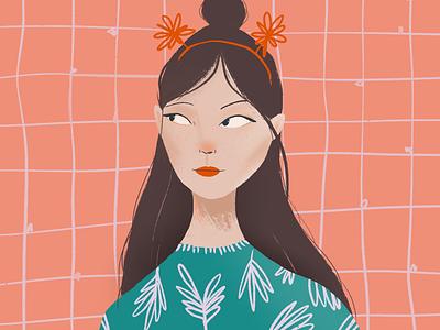 Watching women brunette apparel green pink festive party dress pattern drawing procreate illustration portrait girl