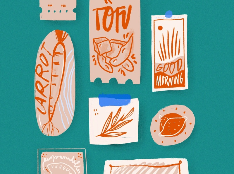 Stickers on the Fridge icon rusty playful magnets procreate healthy natural branding restaurant menu vegetables tofu carrot typography drawing kitchen food texture illustration stickers
