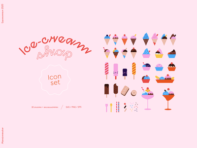 Ice Cream Icon Set kitchen cook flavour banana cup sprinkles sundae small cute sticker badge vector food sweets summer design icecream icon design icons illustration