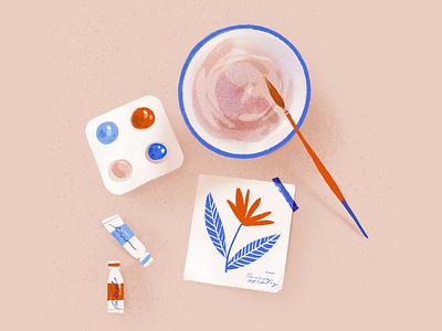 Artist Table textured royal blue floral setup inspiration process painintg texture water artist paintor paint flower pink paintbrush watercolor table procreate illustration