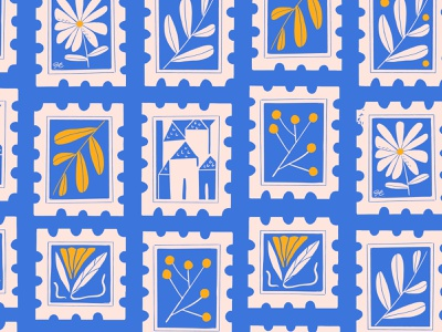 Floral stamps Pattern illustration texture girl vector flatdesign clippingart icons envelope city procreate stamp design royal blue flower mail pattern stickers stamp