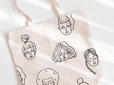 Women Doodles Clip Art linear icons clipart persona protrait abstract faces gift wrap gift material branding totebag craft lineart line work sticker texture girl pattern drawing illustration