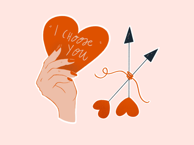 I choose you! procreate gift card valentine day love story simple cute stickers clipart icons february red hand heart love card arrows cupid valentine valentines day love illustration