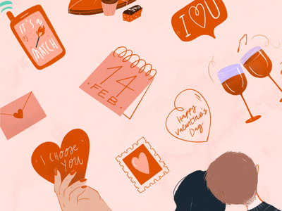 Happy Valentine <3 stickers iconset couple match giftcard 14february wine love icons valentine