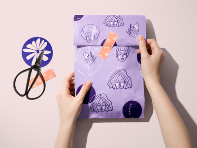 Woman's Day Themed Packaging x NoIssue women in illustration pattern creatsy mockup packaging mockup giftwrap washi tape purple doodles woman illustration womens day woman stickers icons packaging challenge noissue