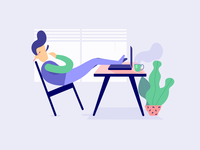 Landing Page Illustrations - Desk app homepage ui email corporate design icons landing page ui tools productivity coffee work from home office desk writing icon flat vector web illustration illustration landing page