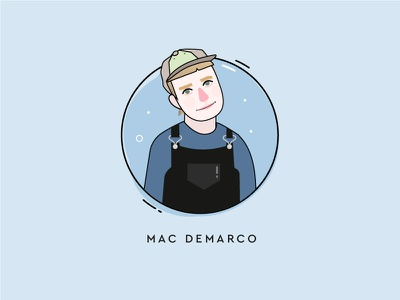 My music icons - Mac Demarco outlined spotify trendy blue bands music illustration mac demarco icon set icon
