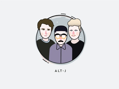 My music icons - Alt-J outlined spotify trendy blue bands indie music illustration alt-j icon set icon