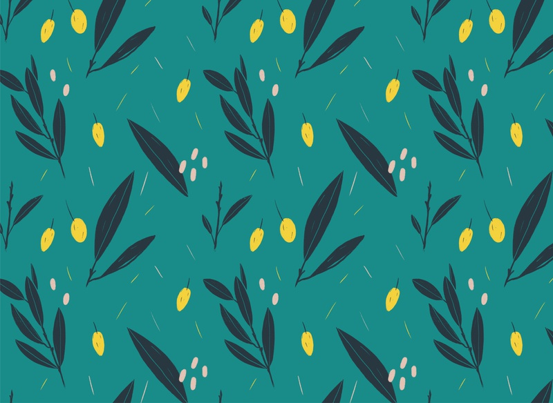Olives Seamless Pattern floral saturation colorful simple flat procreate illustration natural leaf green olive seamless pattern