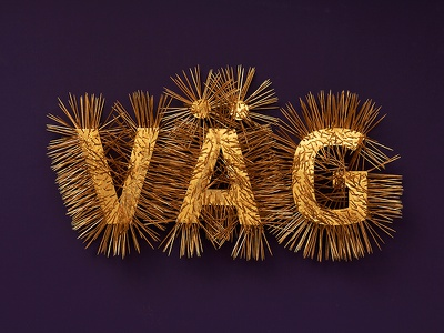Spiky golden type typography