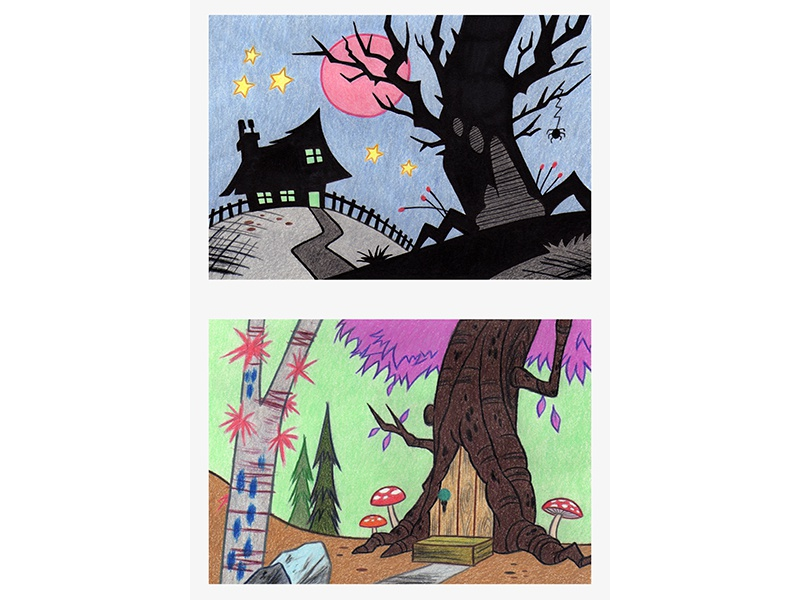 Background Layout II spider treehouse mushrooms composition coloured pencils spooky house background layout illustration