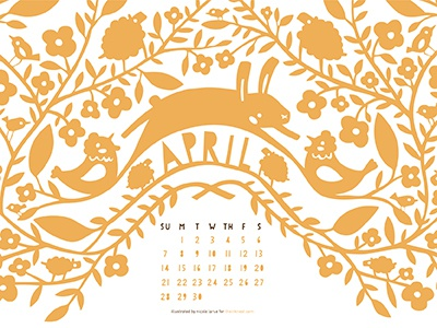 The Ink Nest Calendar illustration calendar easter chickens sheep flowers leaves birds bunnies