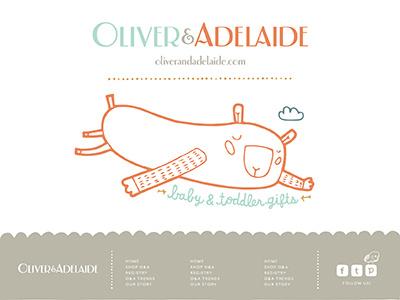 Oliver & Adelaide Branding branding style guide website social media illustration baby footer