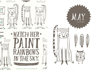 The Ink Nest May Calendar cakes banners tea pots tea cups nicole larue illustration beehives jars umbrellas feathers hand drawn type owls frames cats may