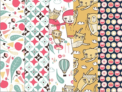 A Cute Life Patterns pattern scrapbooking cute animals flowers paper nicole larue illustration