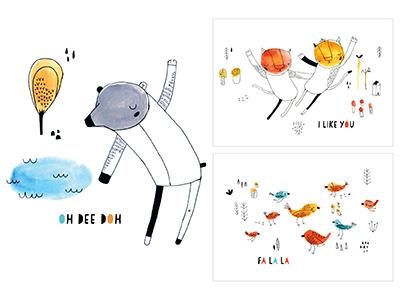 Gouache Card Line animals paint gouache pen  ink mushrooms flowers art print cards nicole larue