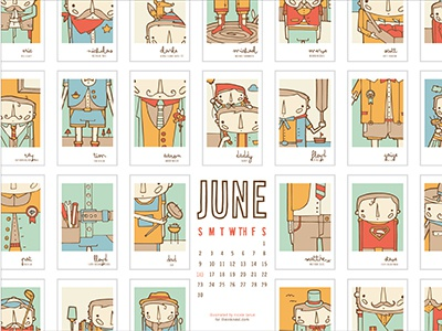 The Ink Nest June Calendar calendar illustration nicole larue june fathers day guys people fathers dad design