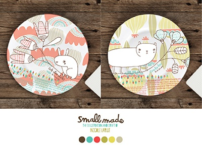 Oh Dee Doh Dinnerware plates illustration color cat rabbit pods flowers nicole larue home decor