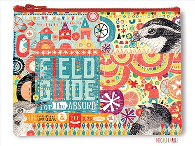 Field Guide Zipper Bag product illustration nicole larue funky colour pattern field guide birds houses geometric hand drawn